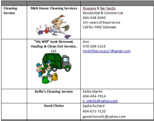 Cleaning Services 10-19-17