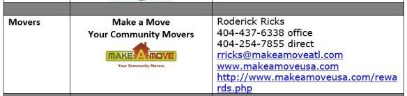 Movers Vendor